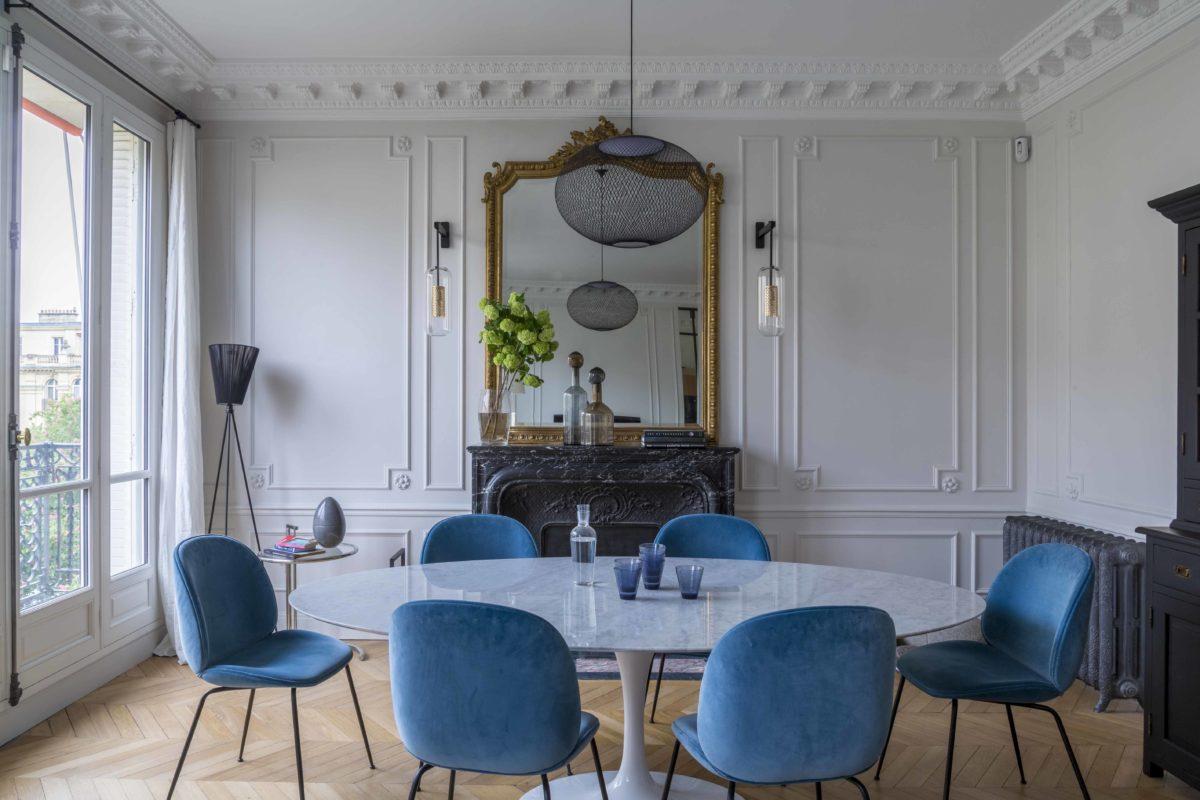 Rénovation complète d'un appartement haussmanien à Paris : cuisine et espaces de vie
